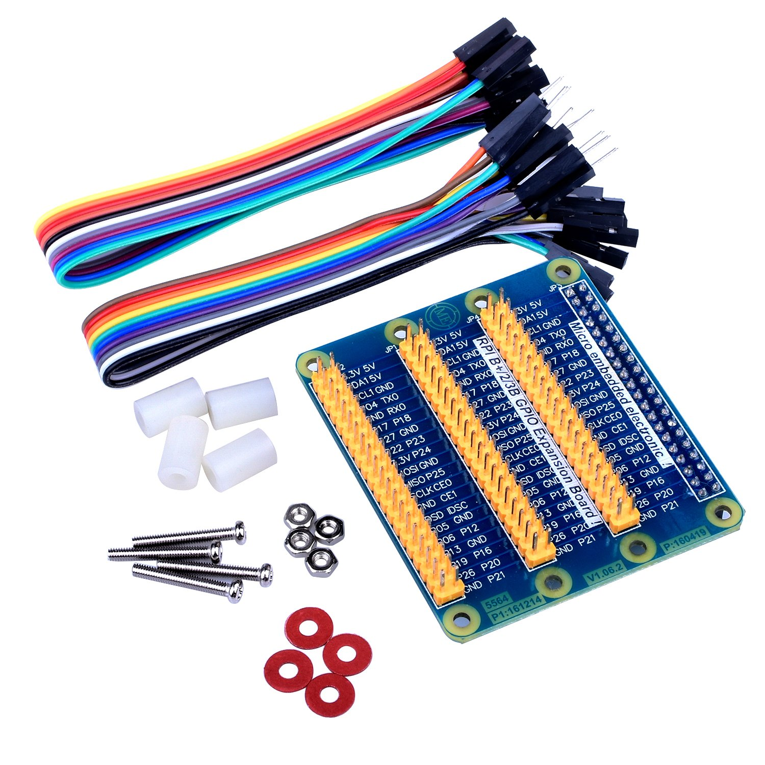 Quimat GPIO Expansion Board For Raspberry Pi/3/2/1 Model B/B+/A/A+ RPi Zero/Zero W,One Row to Three Rows GPIO, DuPont Wire 20pin Male to Female Breadboard Ribbon Jump Cable