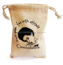 Cotton Muslin Bag with Drawstring and Logo Printing