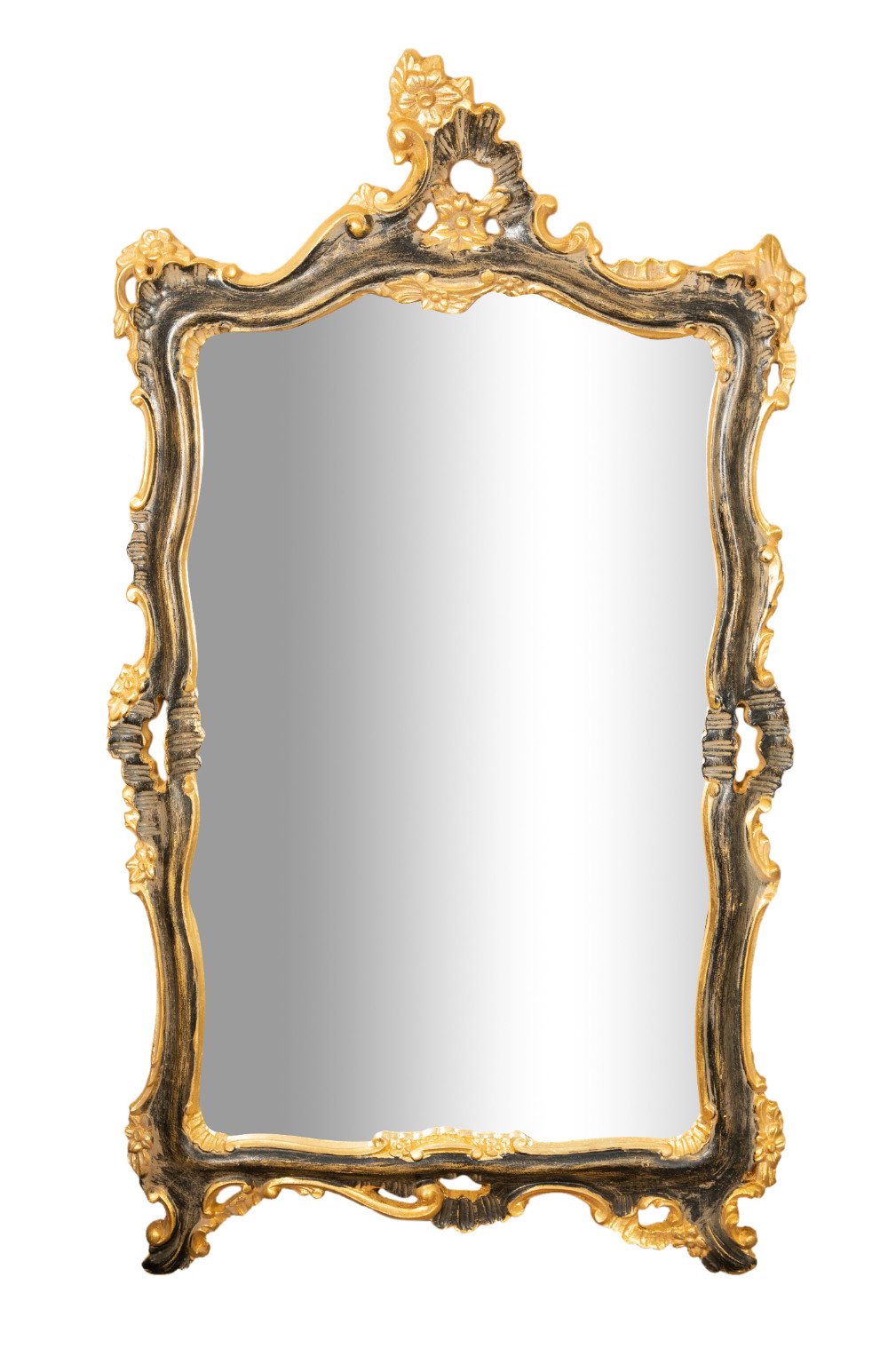 Biscottini International Art Trading gold and black finished wooden frame wall mirror made in