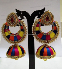 fashion jewellery handmade silk thread multicolor chandbali jhumka earrings wholesale