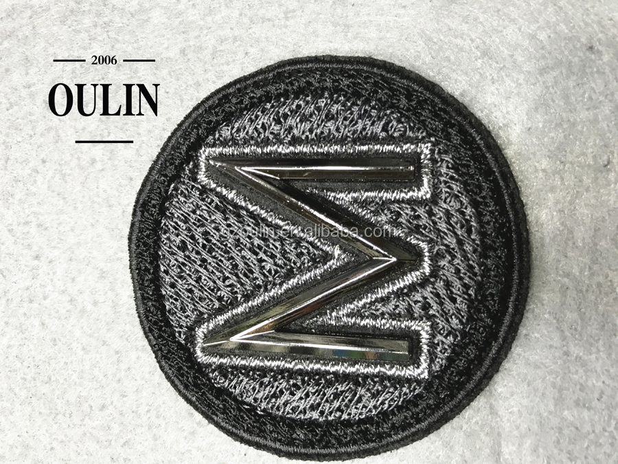 Metal embroidery patches sew on embroidery patches customize designs garment accessory
