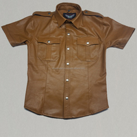 Genuine Sheep Leather Men's Hot Gay Police Short Sleeve Brown Leather Shirt