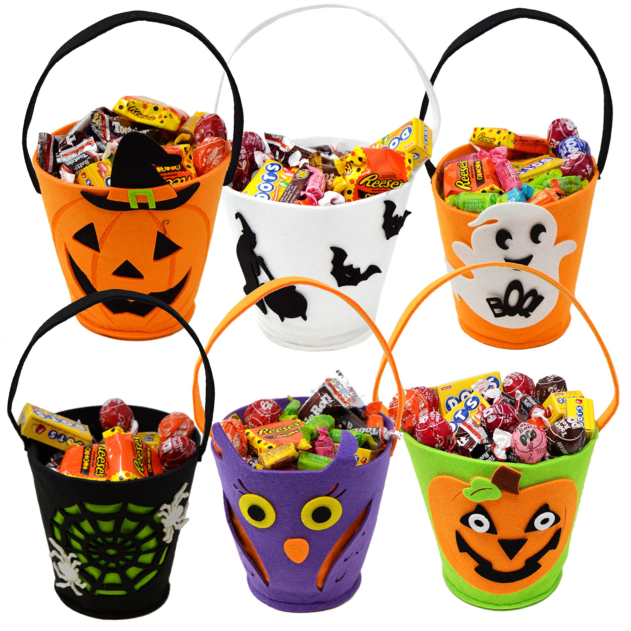 "JOYIN 6 Packs 6.5"" Candy Felt Holder Buckets with Handle for Trick-or-Treating Bags, Halloween Party Favors, Halloween Snacks, Halloween Goodie Bags, Bucket Decoration, Candy Pails"
