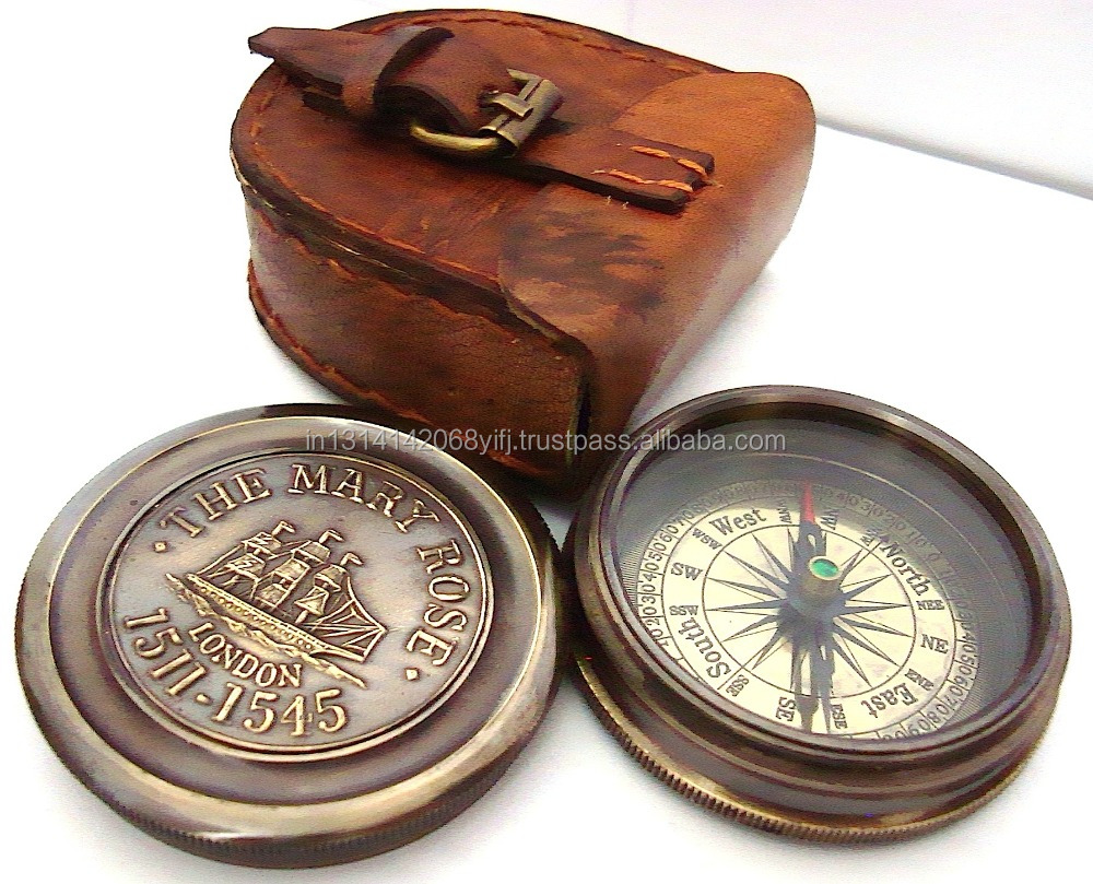 MARINE SOLID BRASS DESK COMPASS WITH REMOVABLE LID-COMES IN GENUINE LEATHER CASE