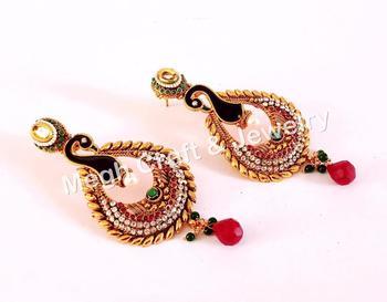919f5cf30468 Latest Designer Pearl Beaded Stone Earrings - Peacock Design Fashionable  Earrings - Women Fashion Bridal Wear