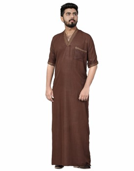 Men S Readymade Arabic Style Thobe Poly Cotton Jubba Night Wear Casual