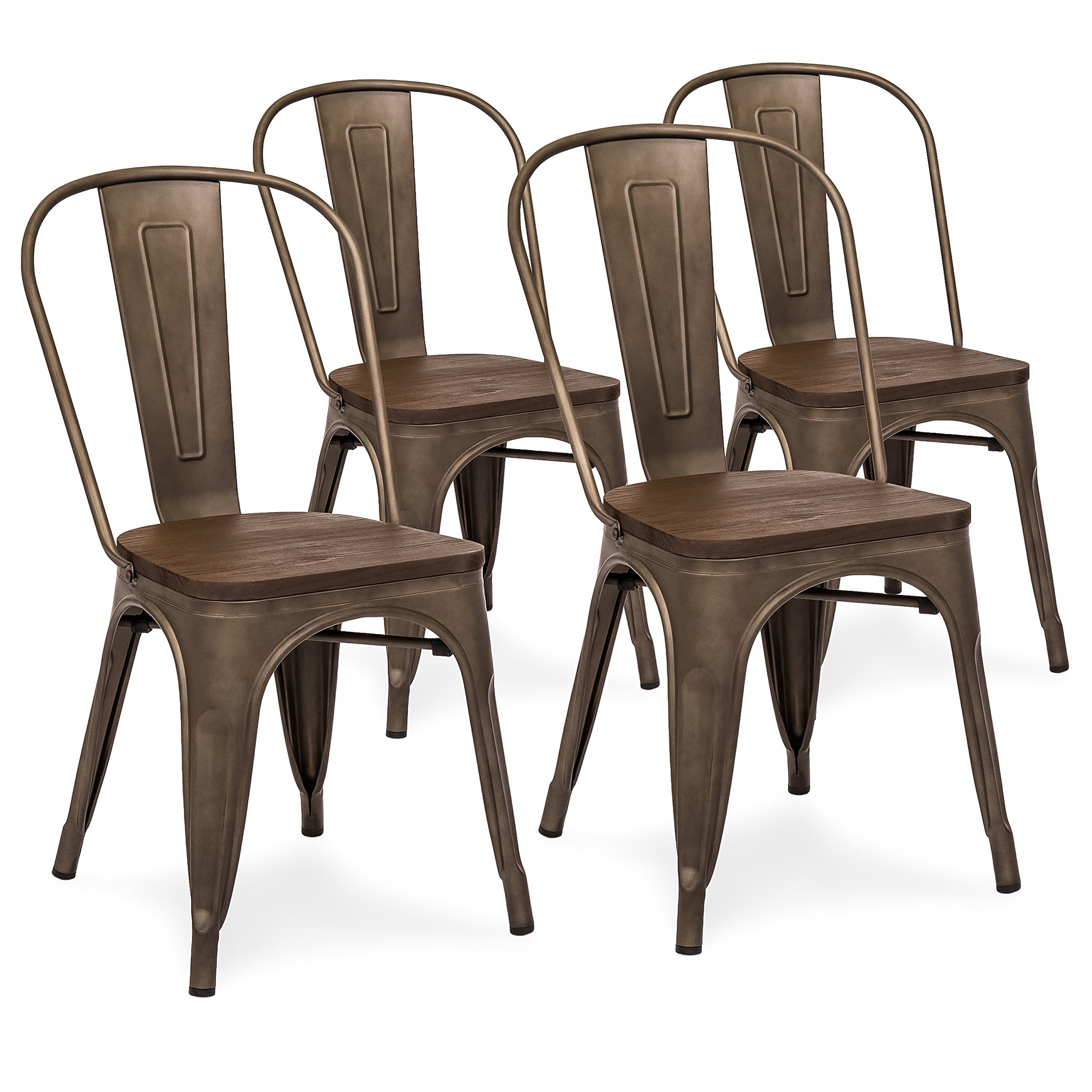 Best Choice Products Set Of 4 Industrial Distressed Metal Bistro Dining Side Chairs w/ Wood Seat (Copper Bronze)