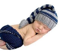 Woolen New Born Baby Photography Blue Suit