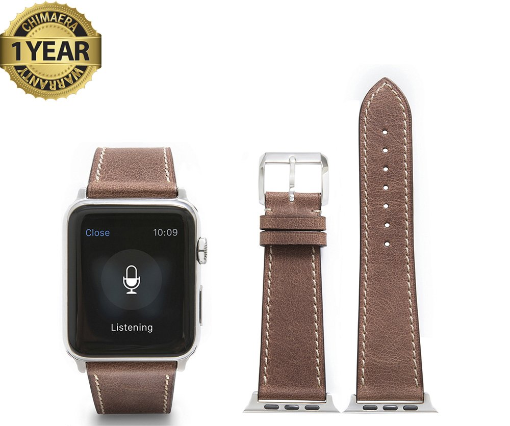 Apple Watch Band,Retro Calf leather Brown fit 42mm Watch Strap with Polished Pin buckle