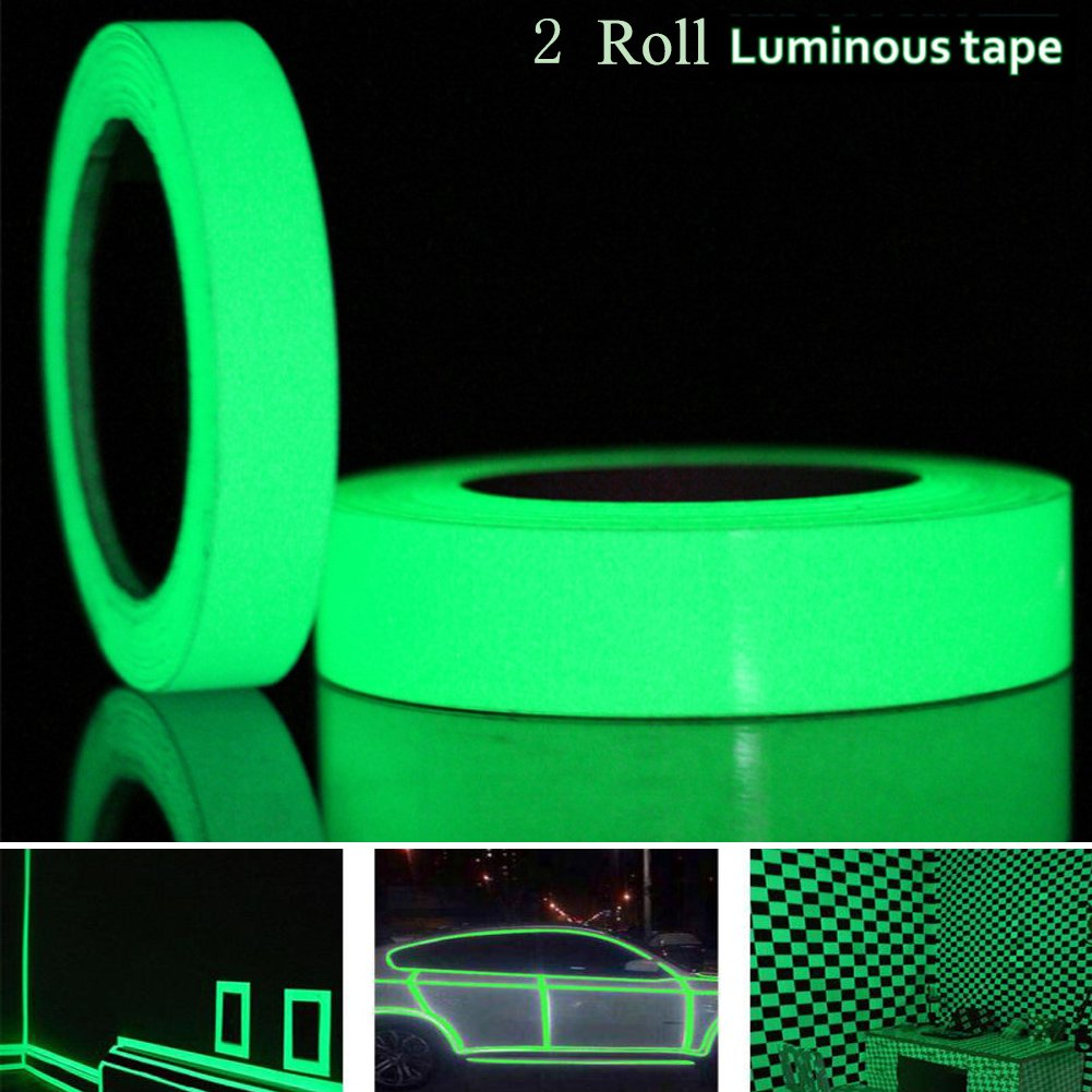 Glow in the Dark Tape,Gloween Green Luminous Tape Sticker,33Ft x 0.8In and 10Ft x 0.5In-Glow-in-the-Dark Tape Roll Safety Egress Markers Stairs, Walls, Steps for Home and Office