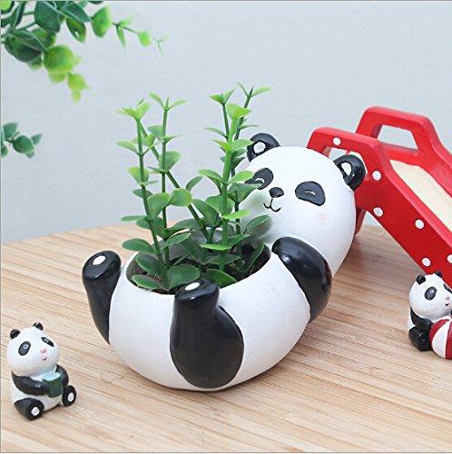Ucoolbila Micro Landscape Succulent Plants Creative Flower Planters, Mini Plants Pot, Resin Decoration, Handmade, Small Plant Containers, Panda Design Succulent Planter