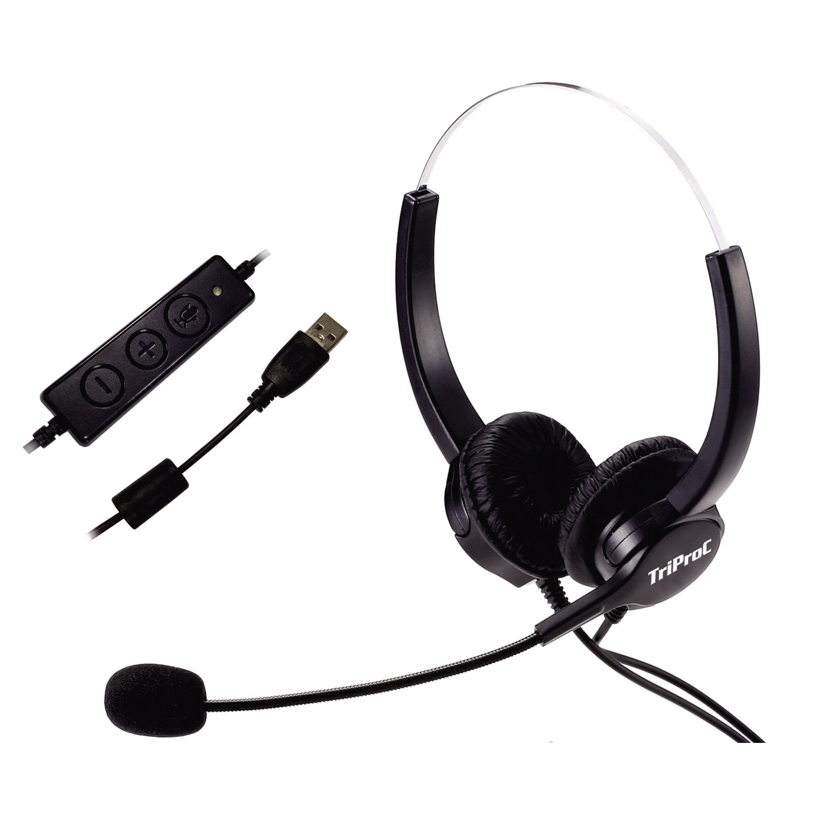 TRIPROC Binaural USB Computer Headset for Internet Calls, Voip Communication, Skype, Webinar, Softphone, Call Center with Noise Cancelling Microphone and Volume Adjuster