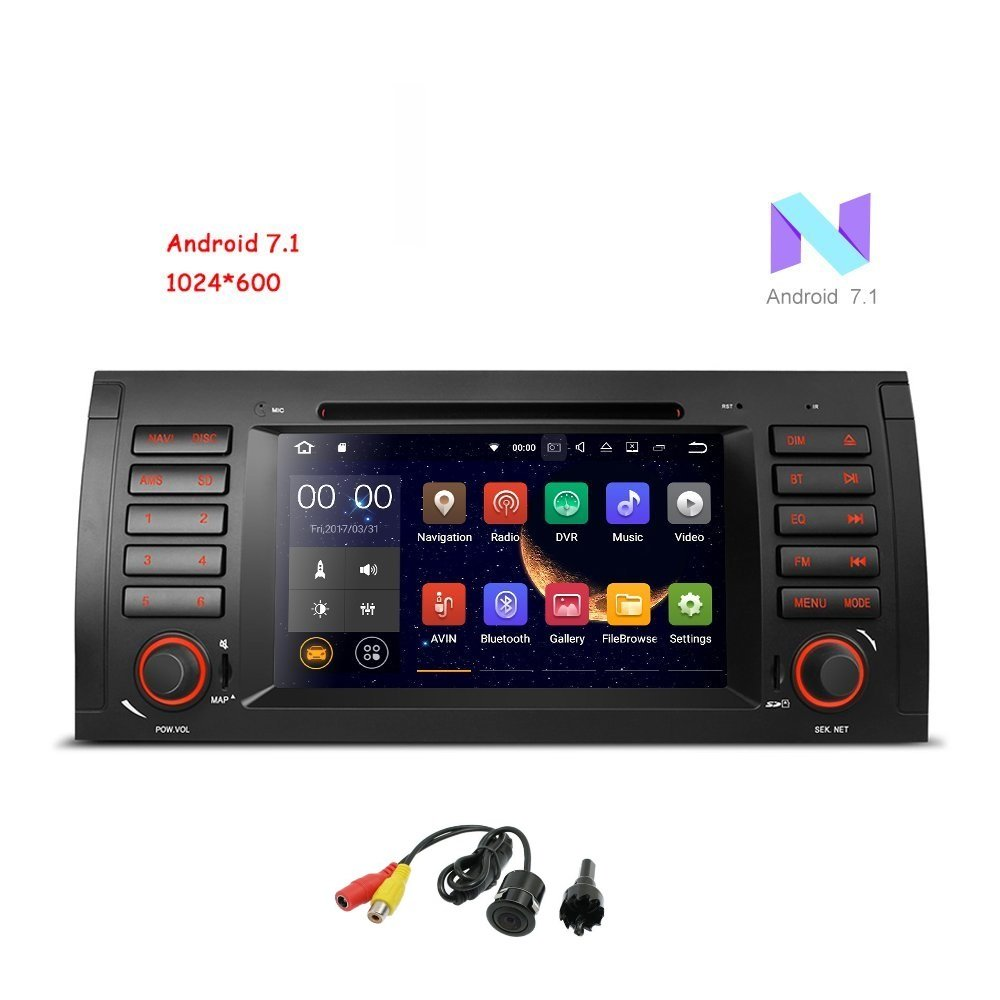 """MCWAUTO Android 7.1 Car Stereo For BMW E39 E53 M5 X5 Car Radio Audio 7"""" Quad Core GPS DVD Player Multi-Touch Screen Radio CD DVD Player GPS 1080P Video Screen Mirroring OBD2 Wifi Rear View Camera"""