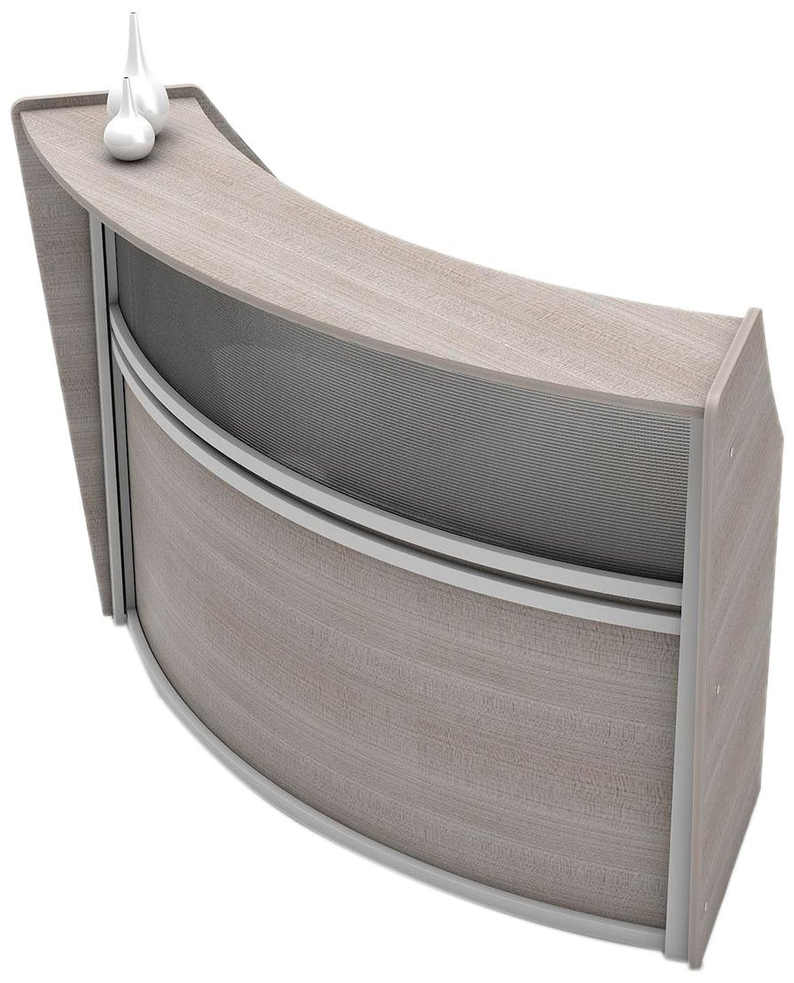 Linea Italia Curved Reception Desk, Single Unit, Clear Panel, Ash Laminate, Modern Office Lobby, Perfect for Small Spaces, Receptionist, Secretary
