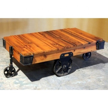 Vintage Indian Old Railway Sleeper Wood Cart Coffee Table With Cast Iron Wheels Living Room Tables Antique