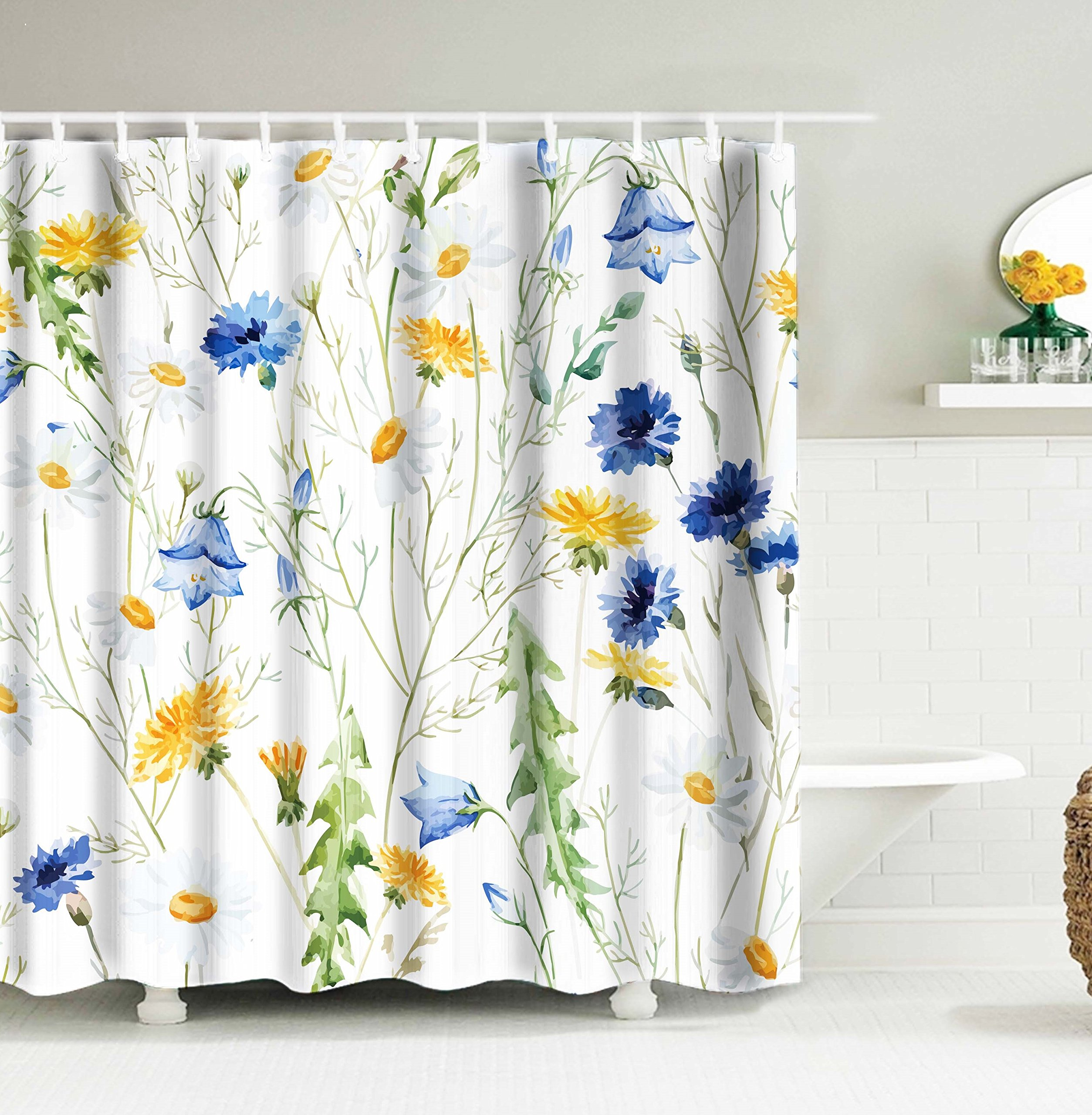 Get Quotations Orange Watercolor Flower Wildflowers Cornflowers Daisies Blooms Floral Pattern Polyester Fabric Bathroom Shower Curtain72X72Inch