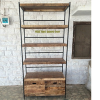 bookshelf furniture Industrial Bookcase of wood with Metal Frame,