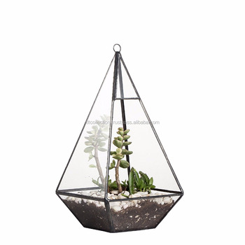 Metal and Glass Pyramid-shaped Terrarium