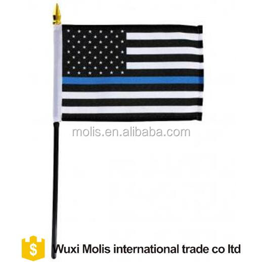 Cheap Custom size thin blue line US hand flag