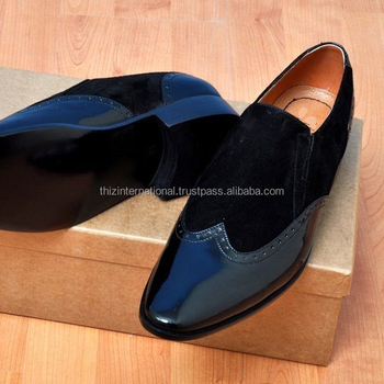 Handmade Mens Patent Leather And Suede Moccasins Shoesmens Black