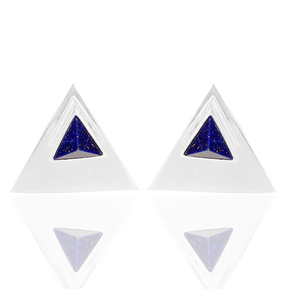 Natural Lapis Lazuli Gemstone Stud Earrings 925 Silver Triangle Design Earring jewelry Wholesaler