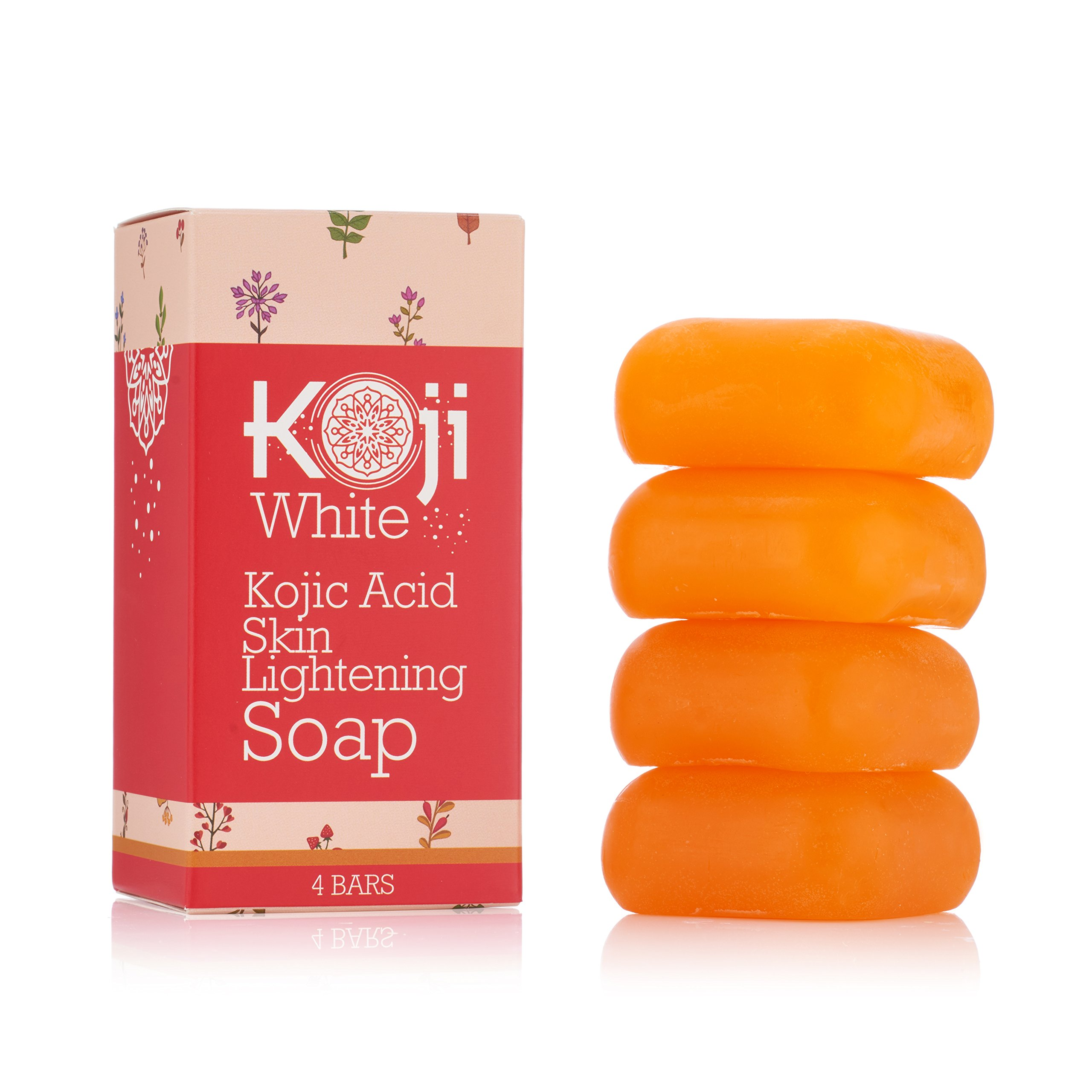 Pure Kojic Acid Skin Lightening Soap ( 2.82 oz / 4 Bars ) - Naturally Whitening for Tone Adjustment & Bleaching Skin - Remove Freckles, Fade Age Spots, Anti-aging, Acne Scars, Sun Spots Damage