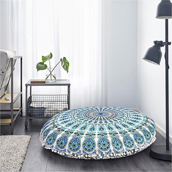 Indian Beautifull Blue Green Floor Pillows Outdoor Cushions Mandala Pillow Pouf