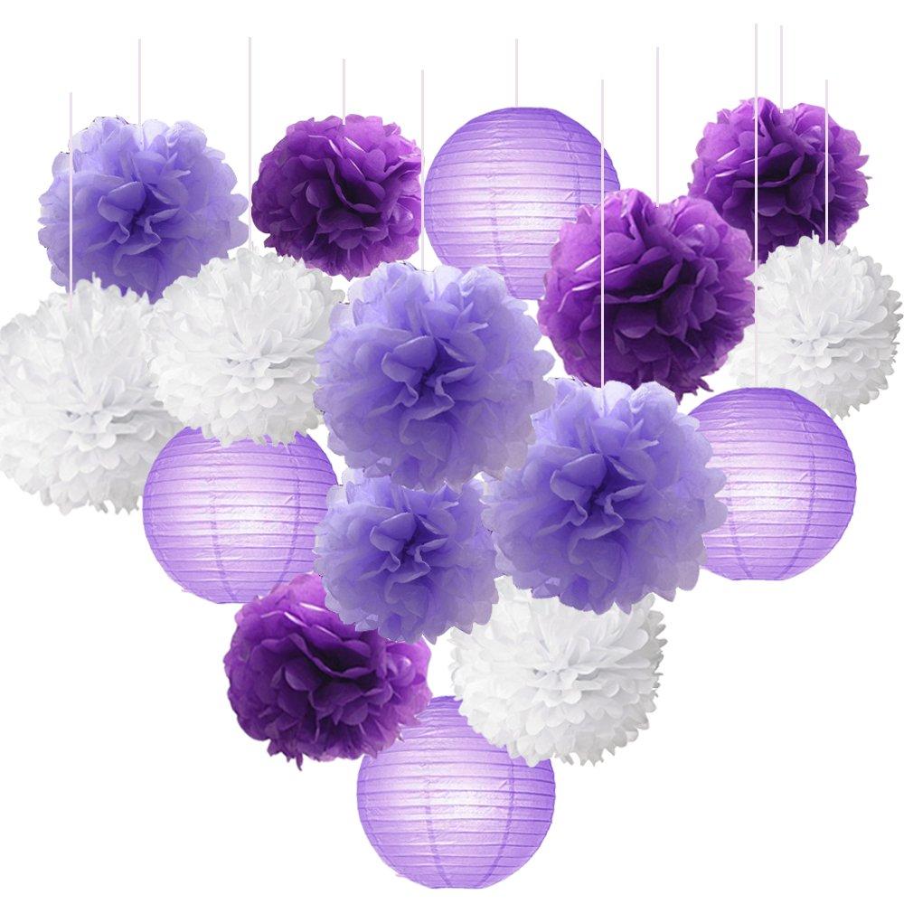 0c91c34d7d91 Get Quotations · 16pcs Tissue Paper Flowers Ball Pom Poms Mixed Paper  Lanterns Craft Kit for Lavender Purple Themed