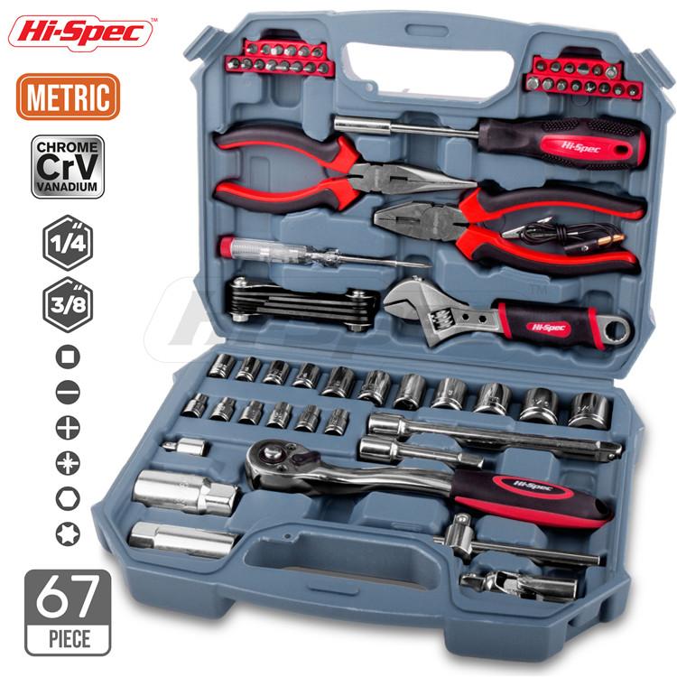 Hispec 67 Stuk METRISCHE Auto Reparatie Tool Kit Garage Tool Set voor Reparatie met een plastic tool box case