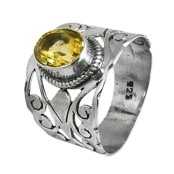 Yellow gemstone ring 925 sterling silver jewelry wholesale silver rings handmade silver rings