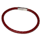 Men and Women Sizes Available Simple Rustic Classic Design Minimalist Red Braided Leather Magnetic Closure Bracelet
