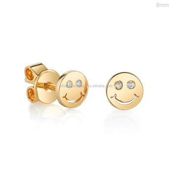 14k Yellow Gold Real Diamonds Hy Face Smiley Stud Earrings
