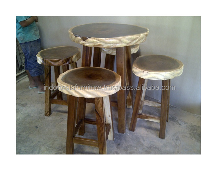 Rustic Round Bar Table And Stools Bangun Joyo Furniture High Tables Unique Wooden Stool Product