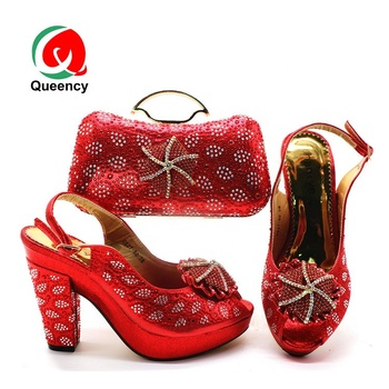 Queency Red Bag And Shoes Matching Women African Evening Clutch Purse