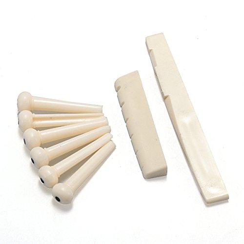 BangBang A Set of Black/White 6 Guitar Bridge Pins 1 Saddle Nut for Folk Guitar (1 Set: Color White)