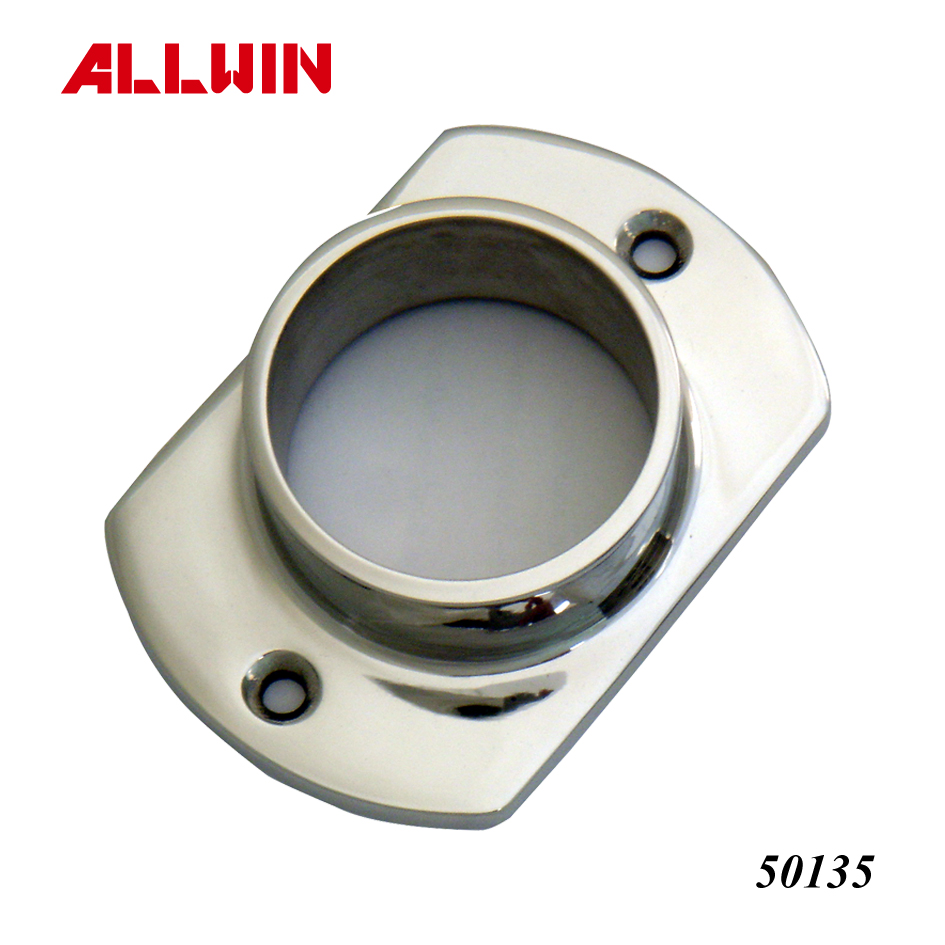 Stainless Steel Middle-High Neck Oblong Base  Wall Flange Floor for Round Tube