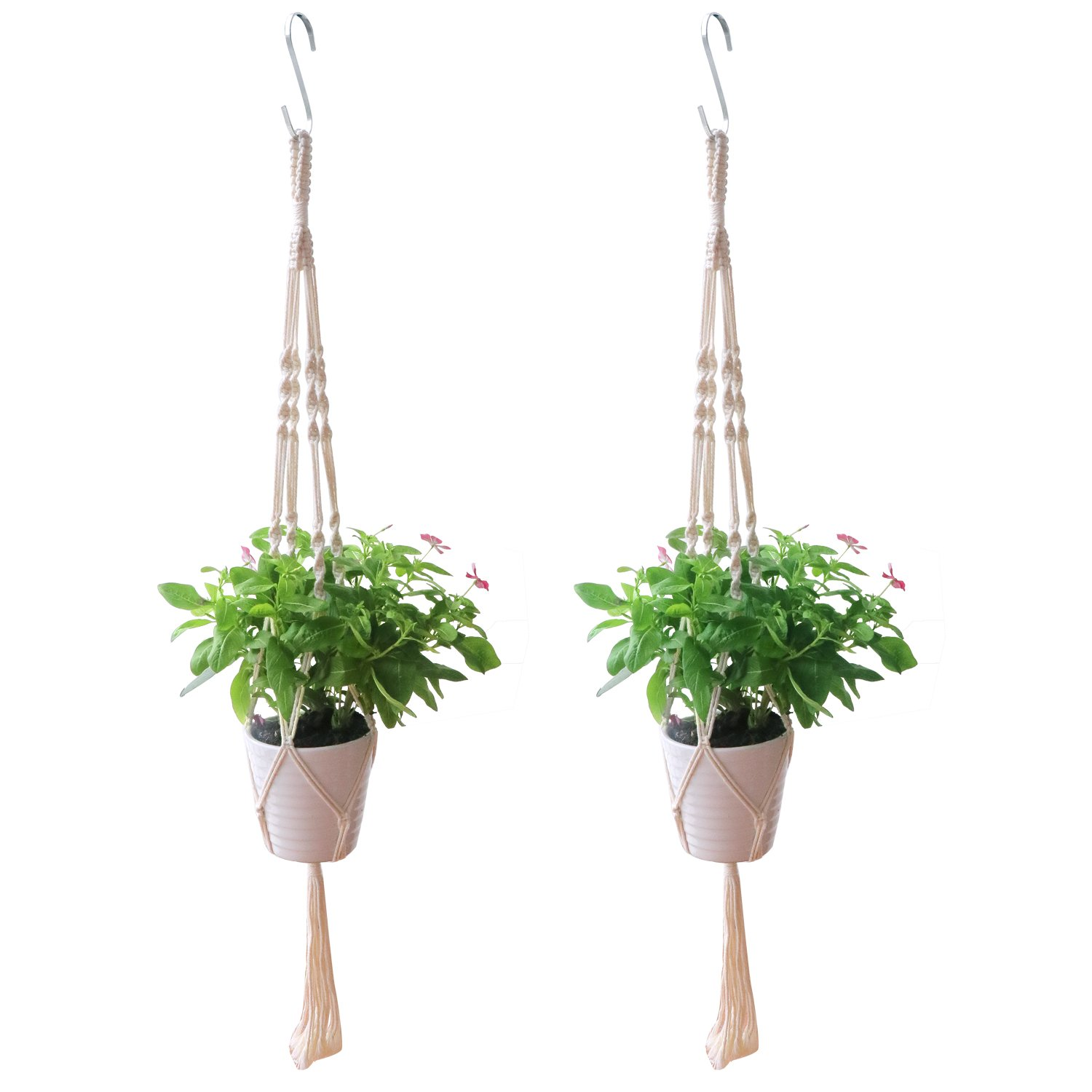 Dreecy 2 Pack Macrame Plant Hanger Cotton Rope with Stainless Steel S Hanging Hooks - 39 inches Indoor Outdoor Ceiling Flower Pot Plant Holder,4 Legs