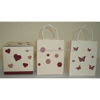 High quality handmade cotton paper cream color die cut bag & box