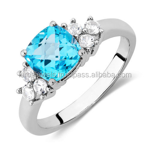 14K White Gold Ring of Blue Topaz with white Natural diamond jewelry