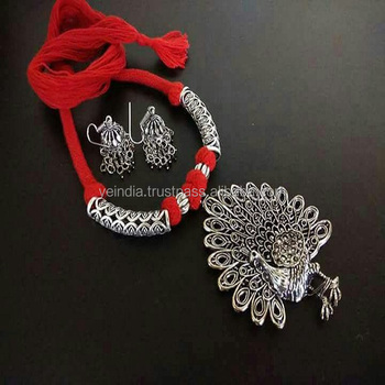 8cb2cf5d3 Stylish Peacock Design German Silver Necklace with matching earrings,  Indian hand crafted Fashion Jewelry