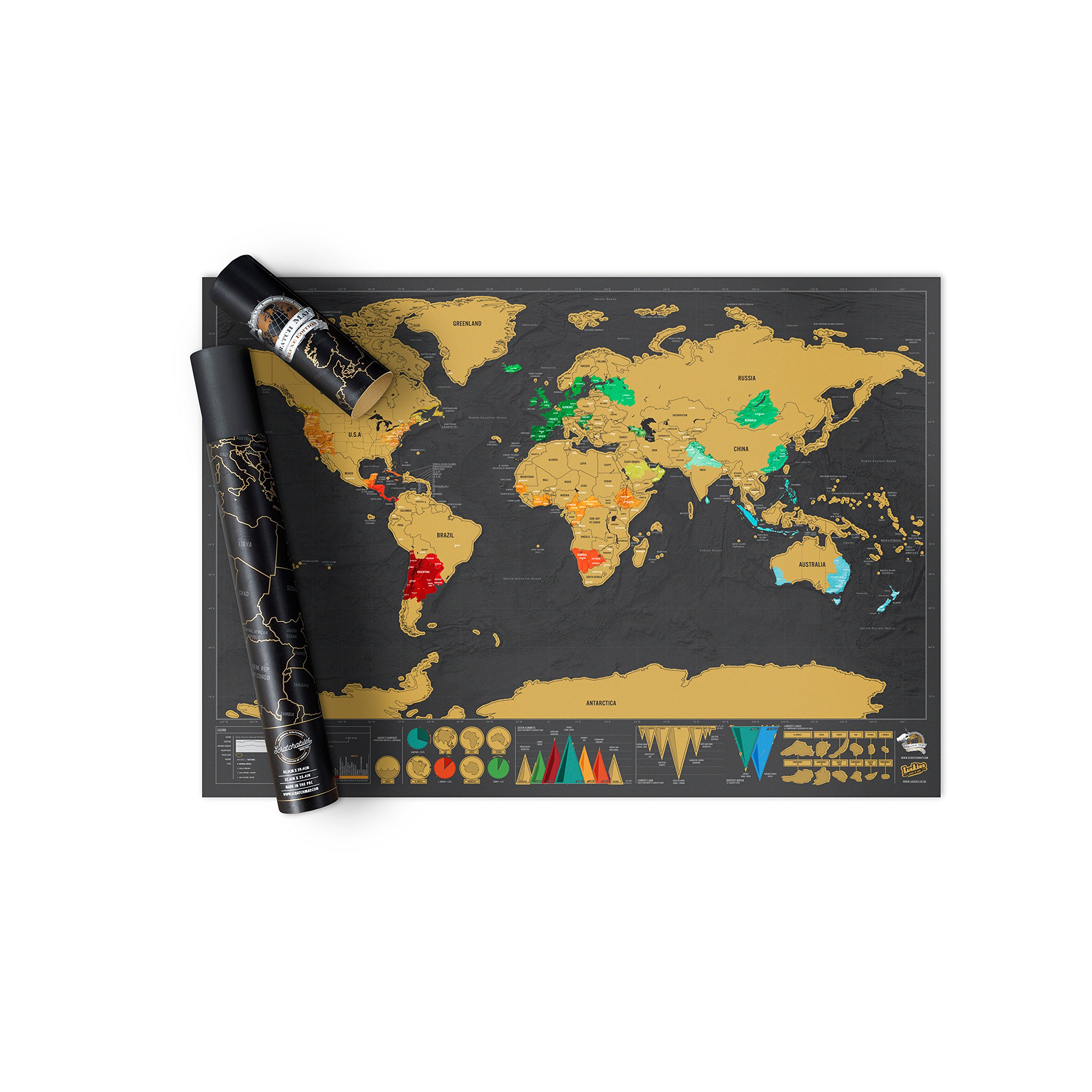 Luckies of London Scratch Map of the World Poster Deluxe Edition – Ideal Travel Gift for Wanderlusters – Scratch Your Way Around the World – Designed and Manufactured in the UK