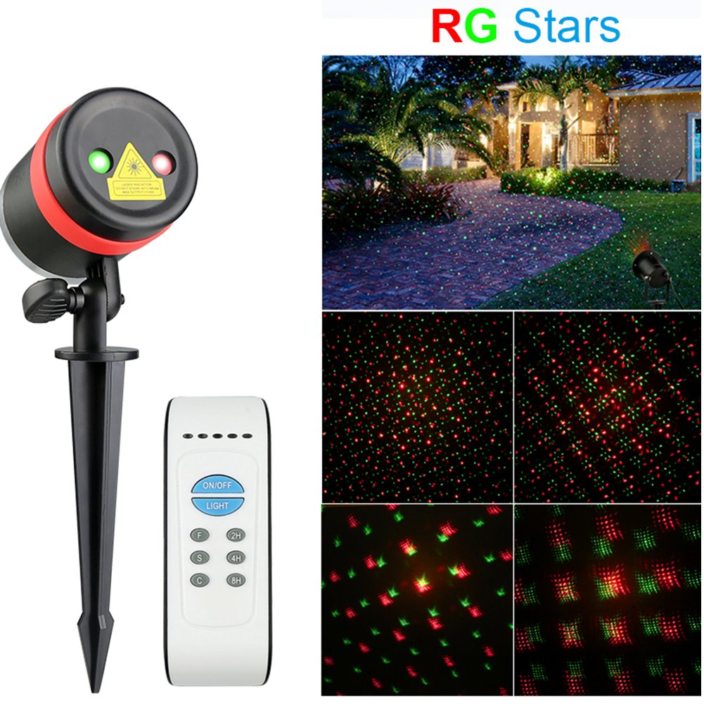 Christmas Laser Lights Projector Outdoor - SurLight Waterproof R & G Laser Light Star Show Landscape Projector Lights with Remote Control Timer for Christmas Halloween Garden Lawn Yard Tree Wall Decor