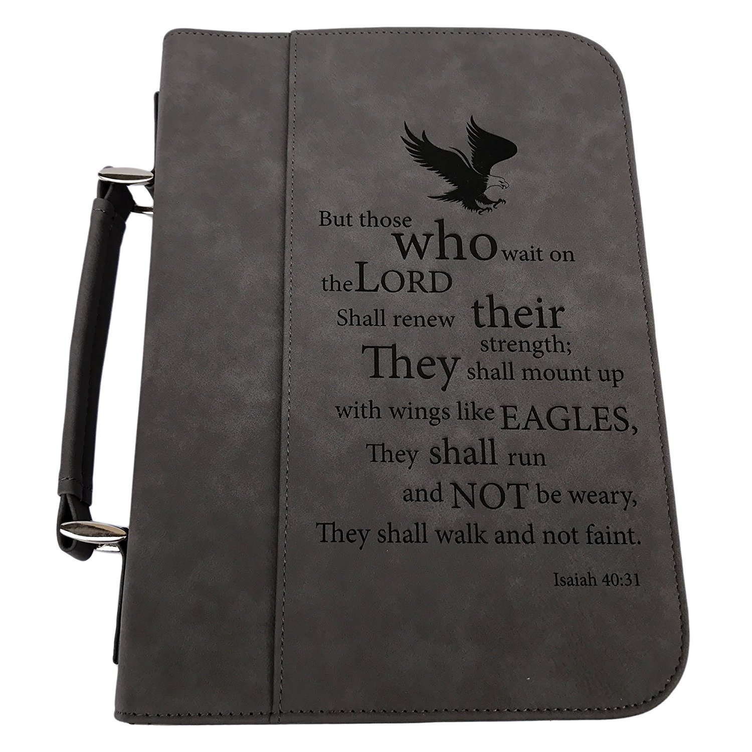 Large Eagles Wings Isaiah 40:31 Brown Faux Leather Mens Bible Cover Case