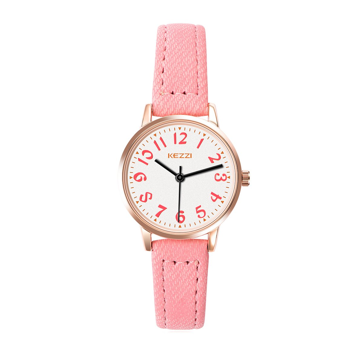 7b791cc27ec22 Get Quotations · ARMIDO Watches for Girls – Easy Time Telling Kids Watch  with Pink Faux Leather Strap