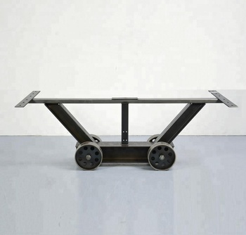 Vintage Dining Table Base With Wheels Wrought Iron Cast Legs Decorative Metal