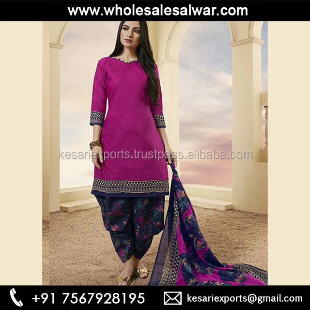 Violet Cotton Office Wear Printed Work Patiala Style Online Indian Designer Clothing 2018 Latest Suits 80909 Patiyala House Salwar