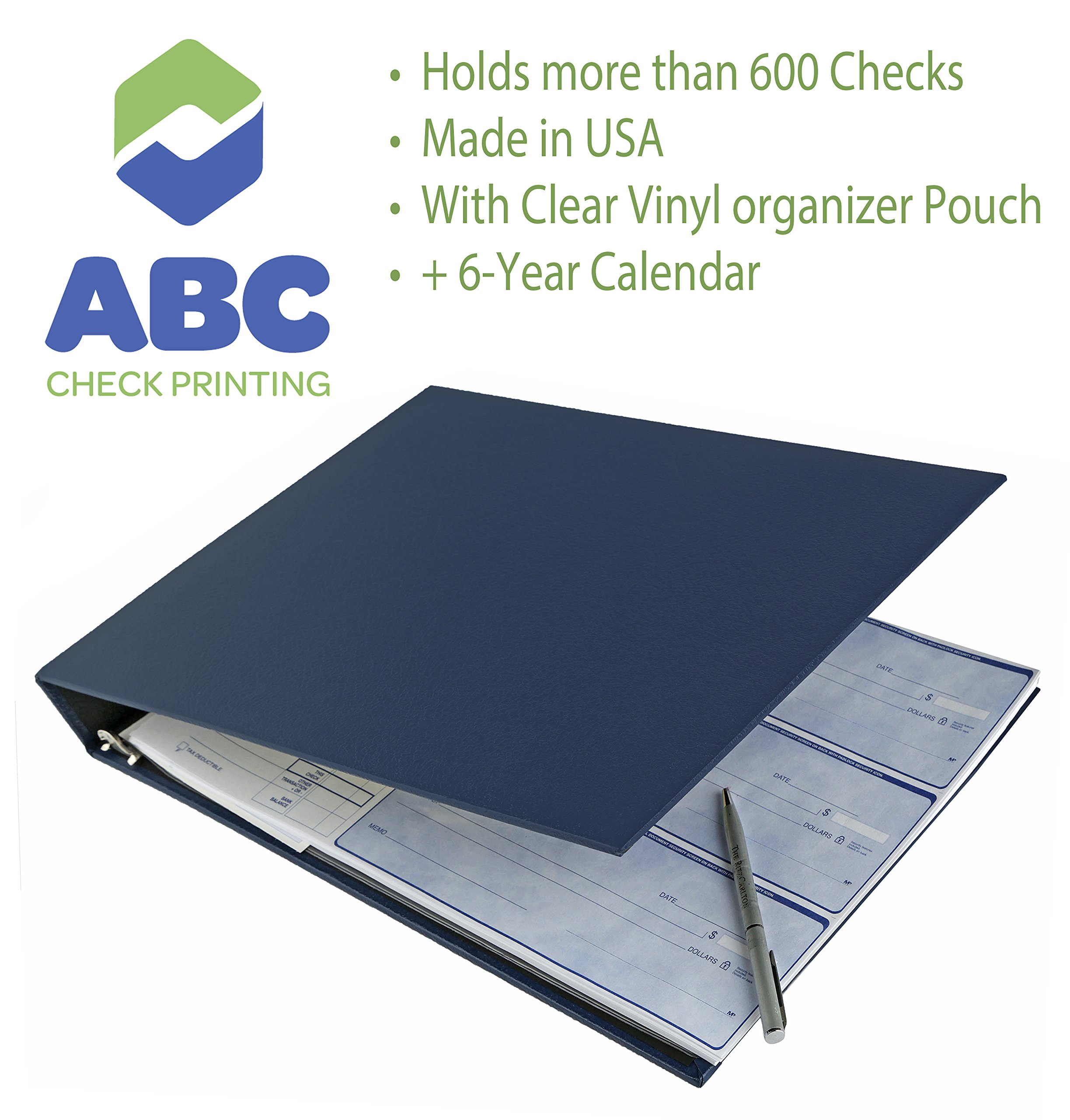 "Abc Durable 7-Ring 3 On A Page Business Check Book Binder, 600 Check Capacity, With Clear Vinyl Pouch Bill Keeper – Removable 6-Year Calendar ""Color Blue"""