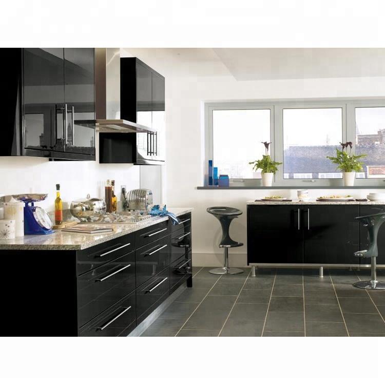Affordable Modern Mdf Kitchen Designs Free Standing Pantry Black