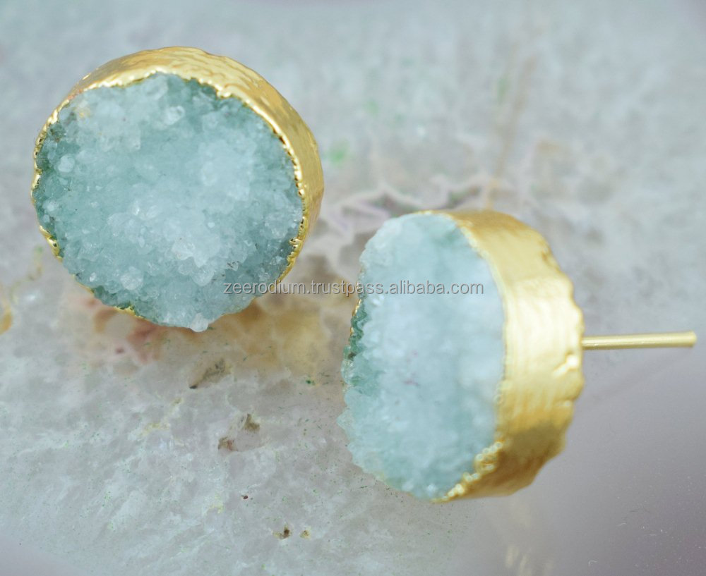 Beautiful 1 Pair Light Aqua Color Stud Gold Plated Dazzling Gemstone Earring
