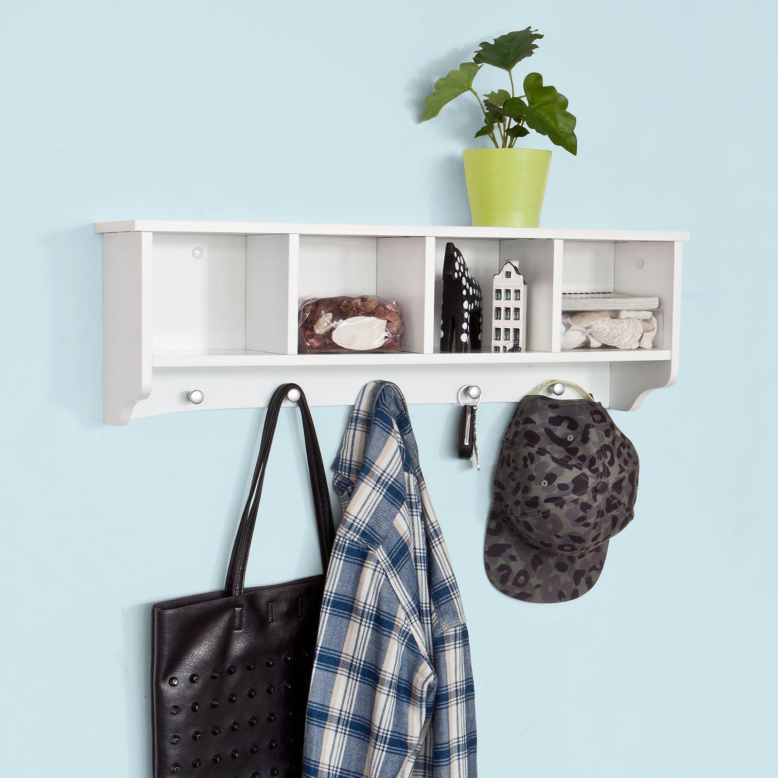 SoBuy Wall Shelves,Wall rack,Wall Cabinets ,Wall-Mounted Cabinets ,Storage Racks, Hanging Entryway Shelf,Storage Shelf ,and Coat Rack Wall Shelf with Hooks (FRG48-L-W)